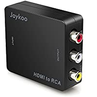 Jaykoo Updated HDMI to RCA,1080P Mini HDMI to 3RCA AV CVBs Composite Video Audio Converter Adapter Supporting PAL/NTSC with USB Powered Cable for Laptop Xbox PS4 PS3 Apple TV STB DVD Player