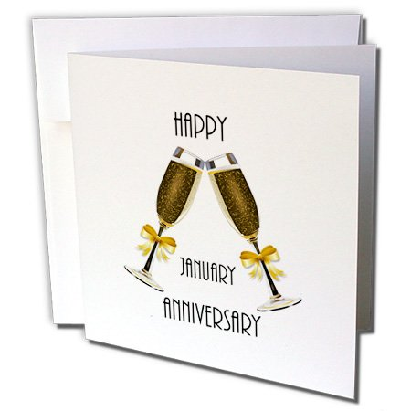 Florene Monthly Anniversary Designs - Image of Happy January Anniversary With Champagne Toast - 1 Greeting Card with envelope ()