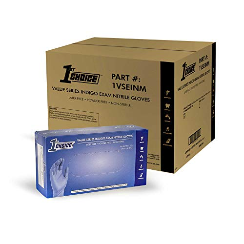 1st Choice Safety Light Indigo Nitrile 3.5 Mil Thick Disposable Gloves, Case of 1000 - Exam/Medical, Latex-Free, Value Series by 1st Choice