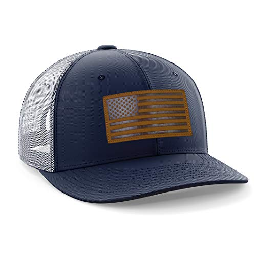 (The Fighting Forces American Flag USA Navy Snapback Hat with Leather Patch)