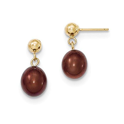 Brown Fw Gold Pearl (Genuine 14k 7-8mm Brown FW Cultured Pearl Dangle Earrings 17 x7.5mm)