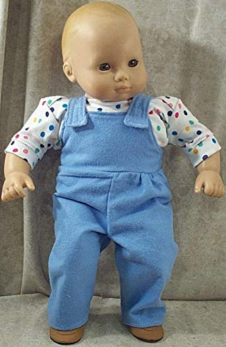 Doll Clothes Baby Made2 Fit American Girl Boy 15' Bitty Overalls Shirt Dots Blue