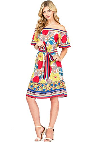 Flying Tomato Women's Flowy Summer Floral Dress (S, Ivory)