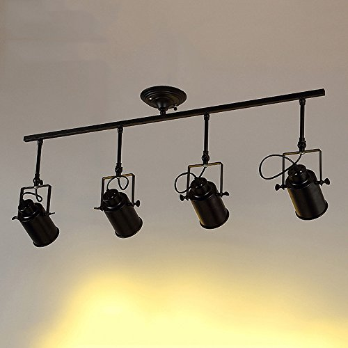 Black Track Lighting Kitchen: Motent Vintage Industrial 4 Way Spotlight Pendant Light 3