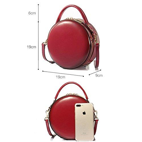 Mode Sacs Sacs Sacs Micro Mini Véritable Red Vintage Totes Crossbody Ronde Bandoulière Pour En Petits Messenger Main Circle à Cuir à Dames qwUrqPTA