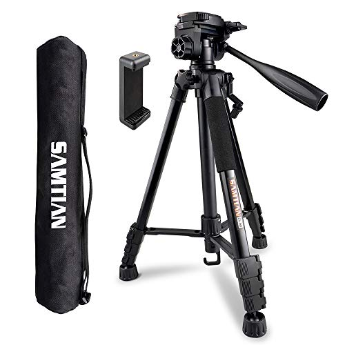 Camera Tripod, SAMTIAN 58inch/147cm Lightweight Aluminum Travel Camera Tripod with 3-Way Swivel Head Carry Bag Phone Clip for Canon Nikon Sony Olympus Photography Video Shooting