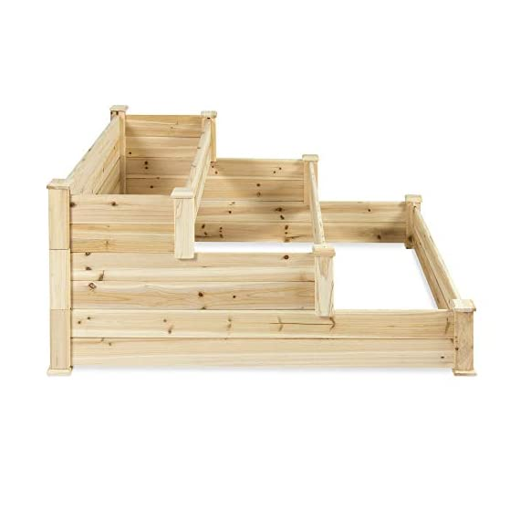 Best Choice Products 3-Tier 4x4ft Elevated Wooden Vegetable Garden Bed Planter Kit w/ No Assembly Required for Outdoor Gardening - Natural 2 STAIR STEP DESIGN: 4x4ft garden bed is designed with 3 open tiers, making it perfect for growing plants and vegetables ranging from short to medium and tall heights QUALITY PLANT GROWTH: Separated design gives your plants ample space between each other to grow to their full potential DURABLE COMPOSITION: Made of 100% fir wood that is 0.5 inches thick for a gardening planter that is built to last through the seasons
