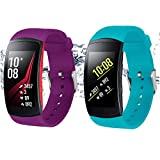 "Rukoy Bands for Samsung Gear Fit 2/ Gear Fit 2 Pro Smartwatch [2-Pack: Teal Green+Purple](5.9""-7.5"")"