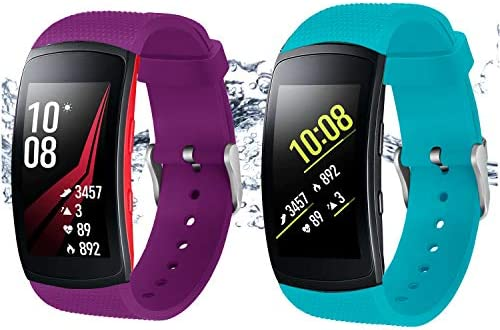 Bands for Samsung Gear Fit 2 Band/Gear Fit 2 Pro[2-Pack: Teal Green+Purple], Rukoy Replacement Straps Accessories for Samsung Gear Fit2 Pro SM-R365/ ...