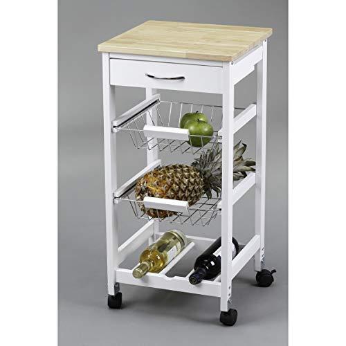 Kit Closet 7040028002 - Carro de cocina con cestas + botellero, madera, 37 x 37 x 76
