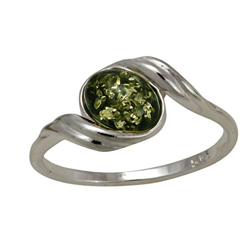 HolidayGiftShops Sterling Silver and Baltic Green Amber Ring Estelle Size: 6.5