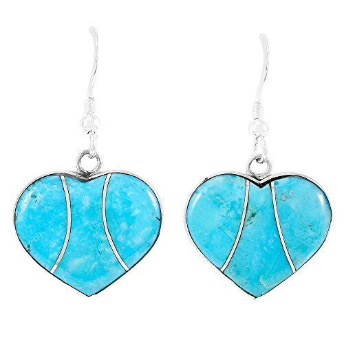 Turquoise Hearts Earrings 925 Sterling Silver & Genuine Turquoise (Turquoise) ()