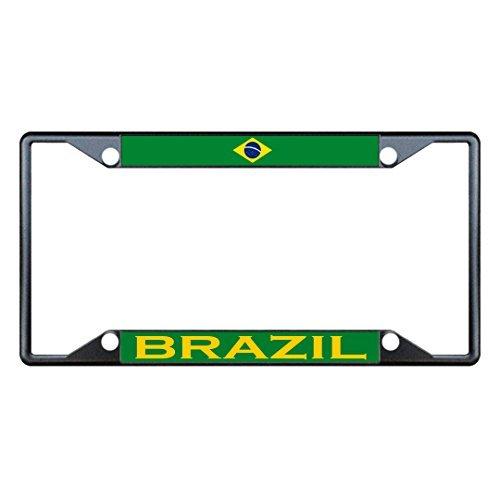 (License Plate Frame Brazil Flag Country Black Tag Holder Four Holes)