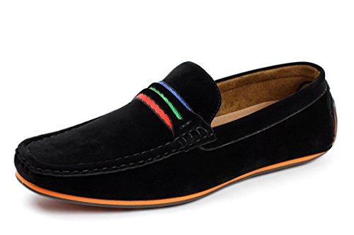 hombre conducción Zapatos Casual Sin Cordones Barco Mocasines Italiano mocasin Negro