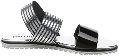 Delle nero Sandali D'argento W Indietro Donne arg sandal Imbracatura Pollini I El 00a 0fTzq