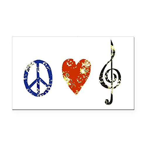 - CafePress Peace, Love,Music D Rectangle Car Magnet, Magnetic Bumper Sticker