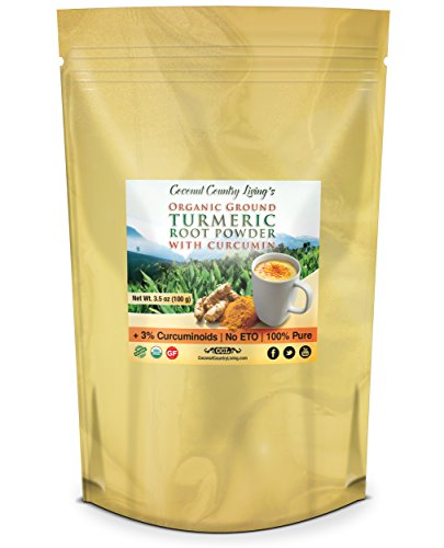 Price comparison product image Premium Organic Ground Turmeric Root Powder with Curcumin, 3.5 oz, for Brain, Body, and Beauty Health Supplement