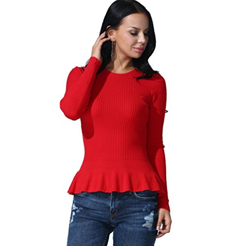 ZKOO Mujeres Manga Larga Cuello Redondo Suéter Doblar Dobladillo Jerseys Prendas De Punto Pullover Camiseta Top Blouses Otoño Invierno Beige Rojo