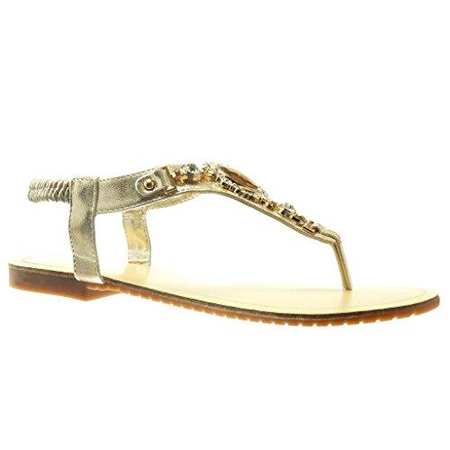 Angkorly - Chaussure Mode Sandale Tong salomés femme bijoux strass diamant fantaisie Talon plat 1.5 CM - Or