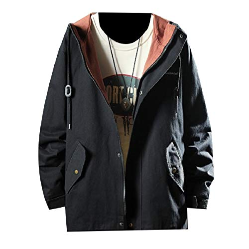 Jacket Autumn Zip Outwear Relaxed MogogoMen Loose Up Black Fit Hoode Juniors' SUxwxHngfq