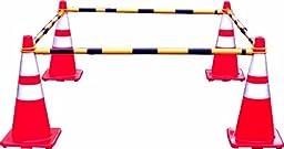 Mutual 17727 Portable Retractable Traffic Cone Bar, Yellow/Black
