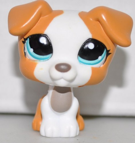 Jack Russell #1093 (White, Blue Eyes, Orange Accents) Littlest Pet Shop (Retired) Collector Toy - LPS Collectible Replacement Single Figure - Loose (OOP Out of Package & -