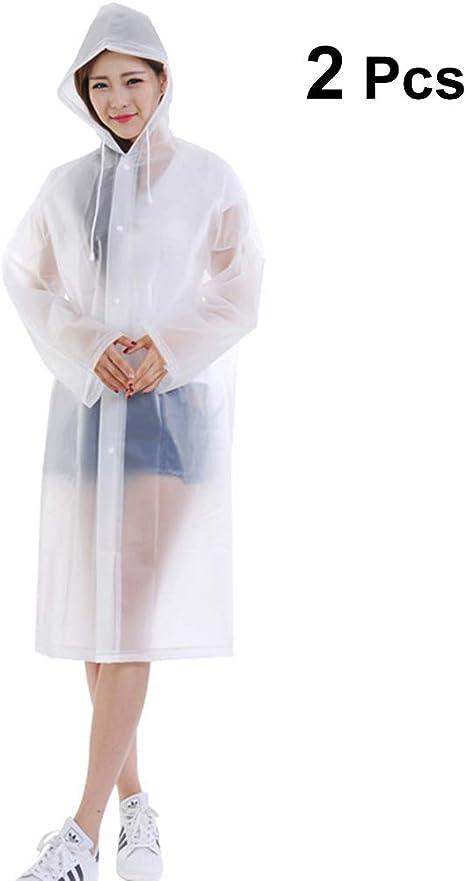 Wuzhengzhijia Impermeables For Hombres Y Mujeres Turismo Al Aire Libre Senderismo Impermeable Transparente Blanco Rompevientos Impermeable Largo Poncho con Capucha Color : White, Size : L