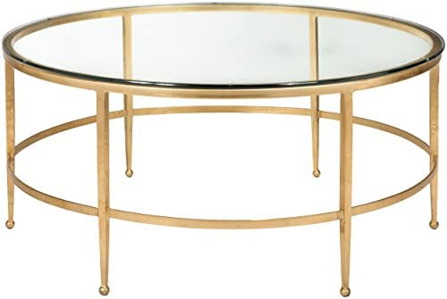 Safavieh American Homes Collection Edmund Antique Gold Glass Couture Cocktail Table