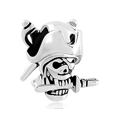 Heart of Charms Halloween Skull Charms Pirates Of The Caribbean Captain Jack Charm Beads for - Jack Heart Charm