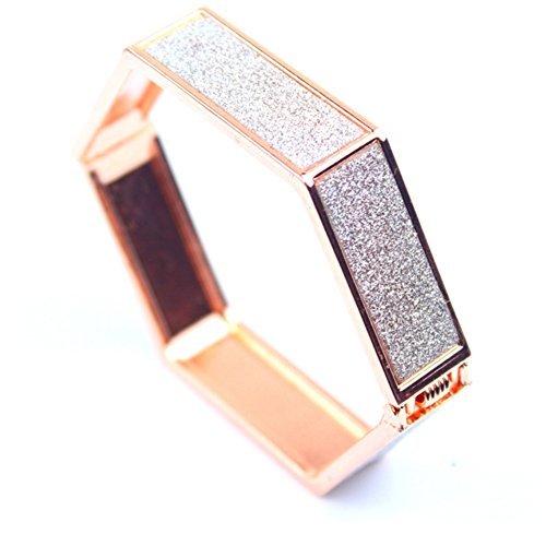 [Women Cuff Bracelet Rose Gold Color Bangle Elegant Fashion Sparkle Pattern Accent] (Accent Hinged Bangle)
