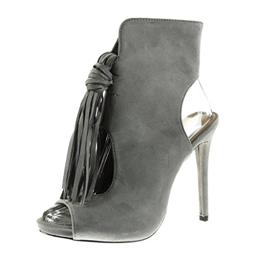 Booty Stiletto Toe Stiletto Angkorly Heel 5 12 cm Sexy Shoes Pom Boots Fringe Pom Women's High Peep Grey Fashion Ankle wOp4q8XAp