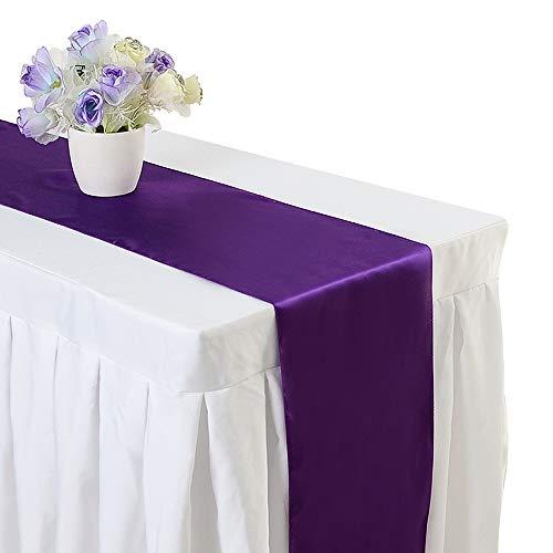 10PCS 12 x 108 Inch Satin Table Runner Wedding Banquet Decoration (#03 Dark Purple)