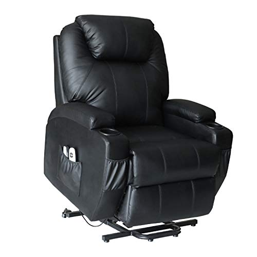 LCH Lift Chair Recliner for Elderly PU Leather Power Electric Seat Furniture Sofa with Remote Control and Cup Holder Oversized Lift Recliners – Black