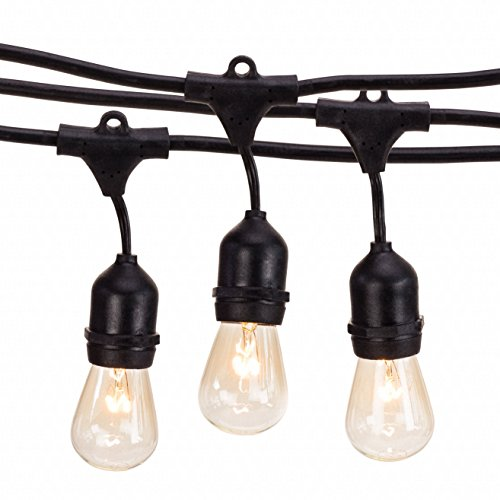 Outdoor String Lights by Deneve - Heavy Duty Hanging Market Patio Cafe Pergola Rope String ...