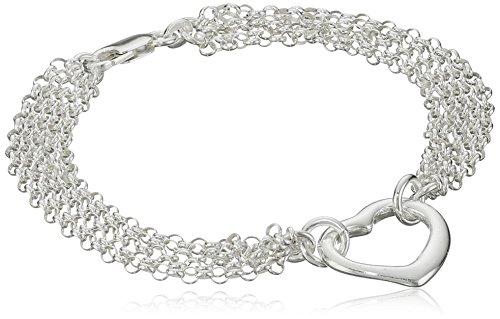 Multi Chain Heart Bracelet (Sterling Silver Multi-Chain Heart Bracelet, 7.25