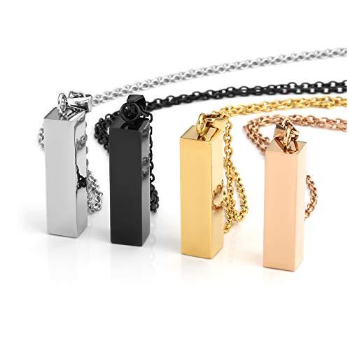 Jovivi Stainless Steel Openable Cylinder Vertical Cuboid Bar Necklace Memorial Ash Keepsake Pendant w/Filler Kit ()