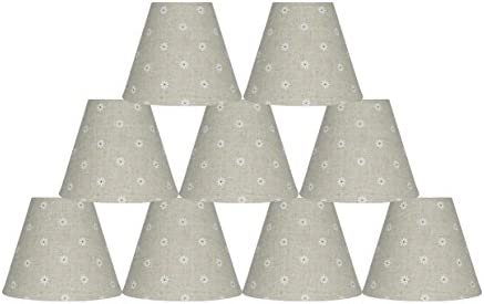 Urbanest Set of 9 Mini Chandelier Lamp Shades, Natural Linen with Daisies, 3x6x5 , Hardback, Clip On