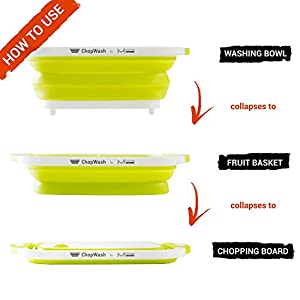 ChopWash by mKitchen World Collapsible Dish Tub | Cutting Board | Chopping & Slicing | Washing Bowl with Own Plug for Drainage | Easy Storage | 3 in 1 Multipurpose Multifunctional Kitchen Gadget