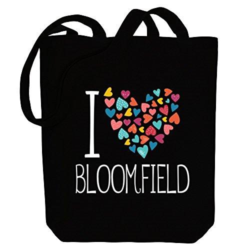 Idakoos I love Bloomfield colorful hearts - US Städte - Bereich für Taschen