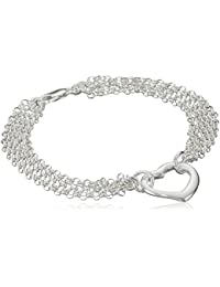 Sterling Silver Multi-Chain Heart Bracelet, 7.25""