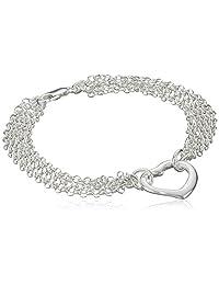 "Sterling Silver Multi-Chain Heart Pendant Bracelet, 7.5"""