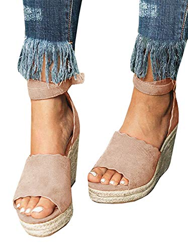 (Nailyhome Womens Espadrille Wedge Sandals Open Toe Ankle Wrap High Heel Summer Shoes)