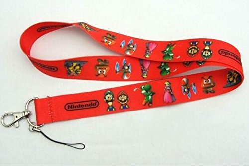 Super Mario Bros. Keychain Mobile Phone Chain Neck Lanyard (Red) (Super Mario Keychain Lanyard)