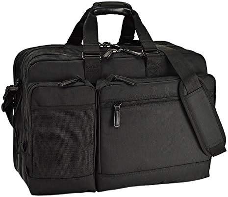 平野鞄 ビジネスバッグ ブリーフケース ビジネストラベルバッグ メンズ A3 B4 3way 3室式 PC収納付き キャリーオン キャリーバー通し付き 大型 パソコン対応 タブレット対応 キャリー対応 通勤 出張 黒 ブラック 横幅47cm +オリジナル高級ムートングローブ