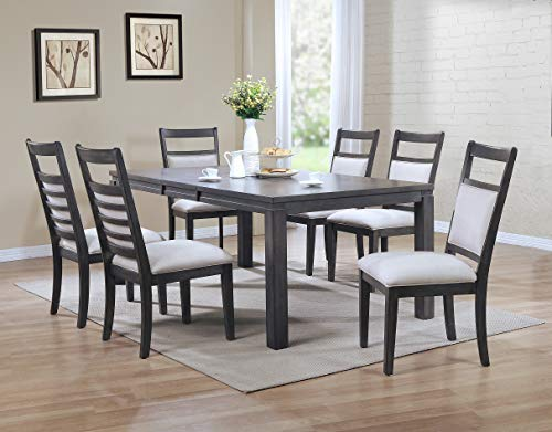 (Sunset Trading DLU-EL9282-C90-7PC Shades of Gray Dining Set, Large, Two Sizes, Weathered Grey)