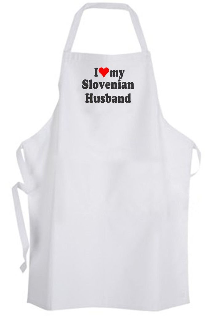 I Love my Slovenian Husband – Adult Size Apron – Wedding Marriage Wife