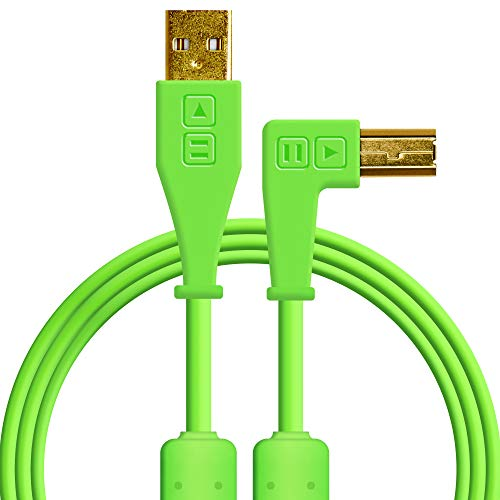 Chroma Cables: Audio Optimized USB-A to USB-B Right-Angle Cable (Green)