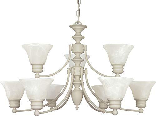 (Nuvo Lighting 60/363 Nine Light Chandelier, Textured White/Alabaster Glass)
