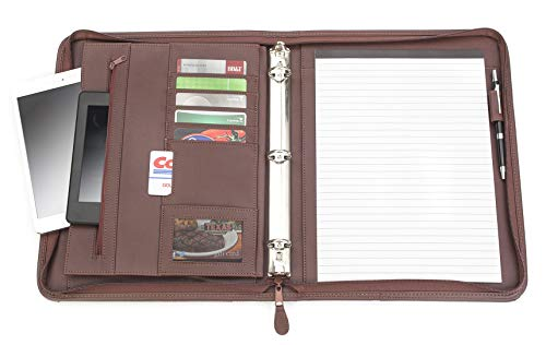Professional Executive PU Leather Business Resume Portfolio Padfolio Case Organizer with iPad Mini or Tablet Sleeve Holder, Zippered Binder, Paper Pad, Card Holders, Document Folder - Almond Brown