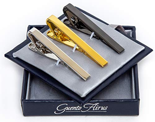 s Tie Bar Clip for Regular Necktie, Gold Silver Black with Luxury Gift Box Set ()